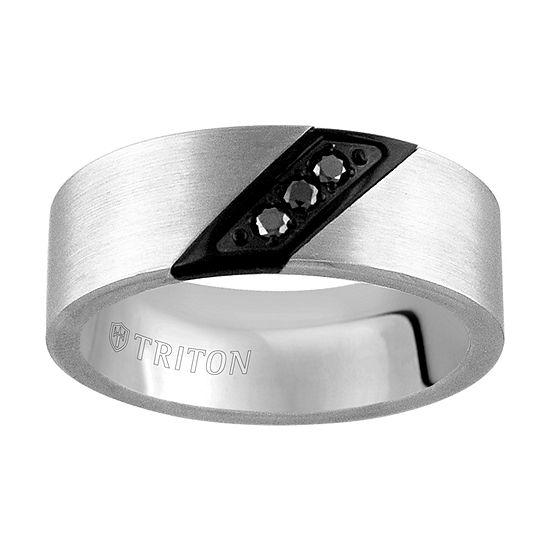 8MM 1/10 CT. T.W. Genuine Black Diamond Tungsten Round Wedding Band