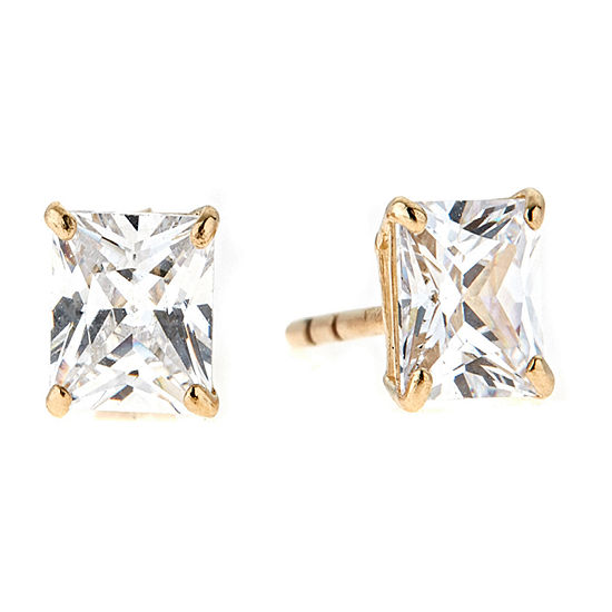 White Cubic Zirconia 14K Gold Over Silver 10mm Stud Earrings