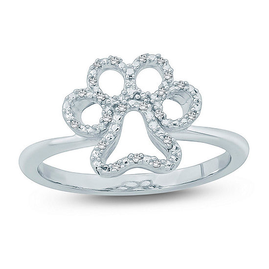 Womens Diamond Accent White Diamond Sterling Silver Delicate Cocktail Ring