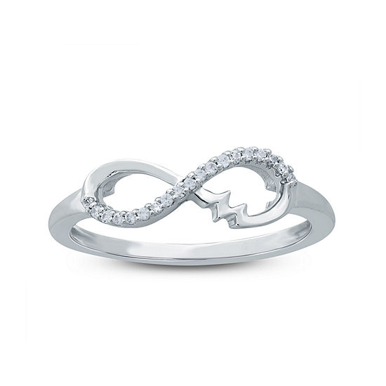 2MM 1/10 CT. T.W. White Diamond Sterling Silver Band