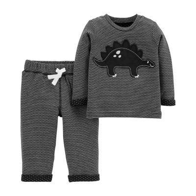 Carter's 2pc Dino Stripe Pant Set- Baby Boy