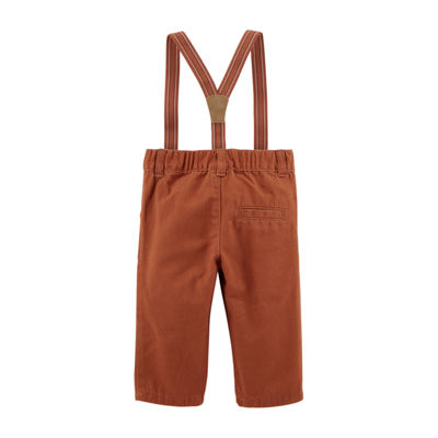 Carter's 2pc Poplin Shirt & Suspender Pant Set - Baby Boy