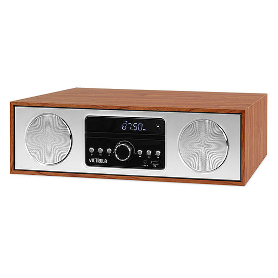 Victrola VS-120 30-Watt Wooden Bluetooth Microsystem with CD, USB and Radio