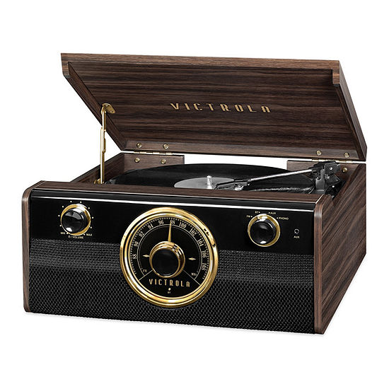 Victrola VTA-240B Wood Bluetooth Mid-Century Record Player with 3-Speed Turntable and Radio