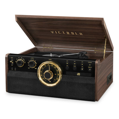 Victrola VTA-270B 6-in-1 Wood Bluetooth Mid-Century Record Player with 3-Speed Turntable, CD, Cassette Player and Radio