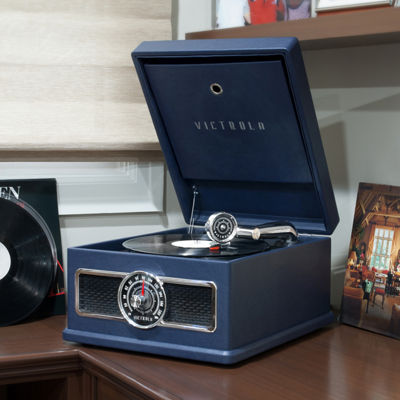 Victrola VTA-800B 5-in-1 Nostalgic Bluetooth Record Player with CD, Radio, Record Storage and 3-Speed Turntable