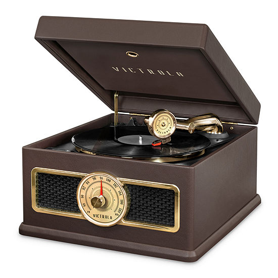 Victrola VTA-800B 5-in-1 Nostalgic Bluetooth Record Player with CD, Radio, Record Storage and 3-Speed Turntable.