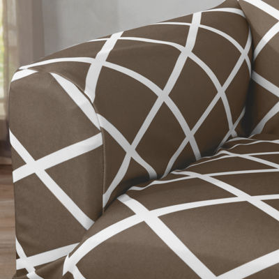 Tori Collection Stretch Diamond Printed Sofa Slipcovers