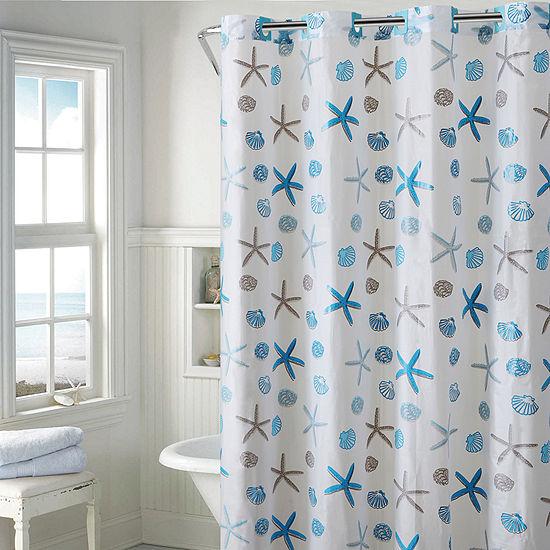 Hookless Peva Seashell Shower Curtain
