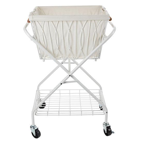 Gourmet Basics by Mikasa Art Verona Lndry Cart Bkt White Cnvas Gb Utility Cart