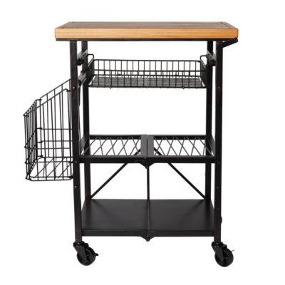Gourmet Basics by Mikasa Art Folding Kitchen Cart Bam W Bskts Gb Utility Cart