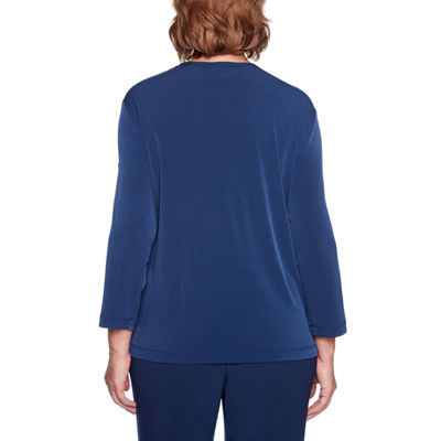 Alfred Dunner Royal Street Womens Scoop Neck 3/4 Sleeve Layered Top