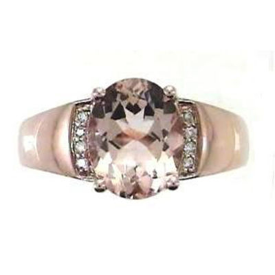 Womens Diamond Accent Pink Morganite 10K Gold Cocktail Ring
