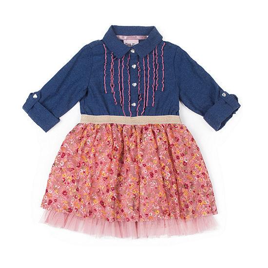 Little Lass Long Sleeve Tutu Dress - Baby Girls