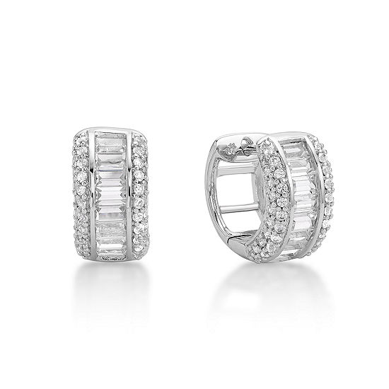 Lab Created White Sapphire Sterling Silver 12mm Hoop Earrings