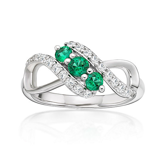 Womens Lab Created Green Emerald Sterling Silver 3 Stone Cocktail Ring