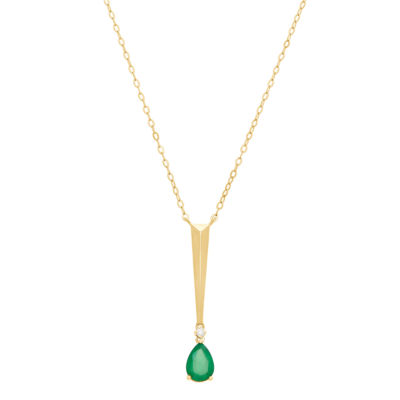 Womens Diamond Accent Genuine Green Emerald 10K Gold Pendant Necklace