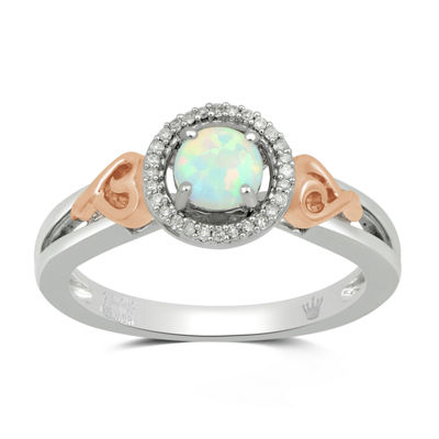 Hallmark Diamonds Womens Lab Created White Opal 14K Rose Gold Over Silver Cocktail Ring
