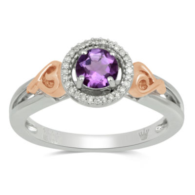 Hallmark Diamonds Womens Genuine Purple Amethyst 14K Rose Gold Over Silver Cocktail Ring