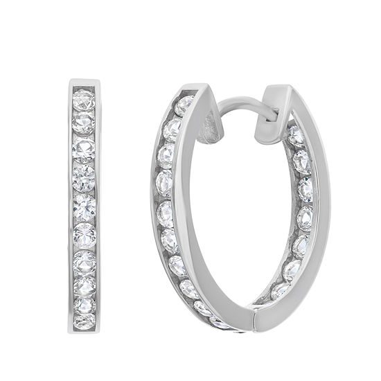 Lab Created White Sapphire 14K White Gold 15.6mm Hoop Earrings