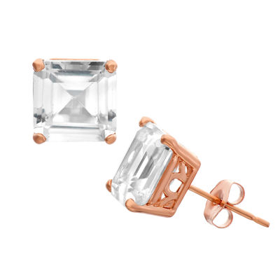 Lab Created White Sapphire 14K Rose Gold 8mm Stud Earrings