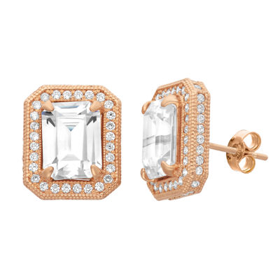 Lab Created White Sapphire 14K Rose Gold 8.7mm Stud Earrings