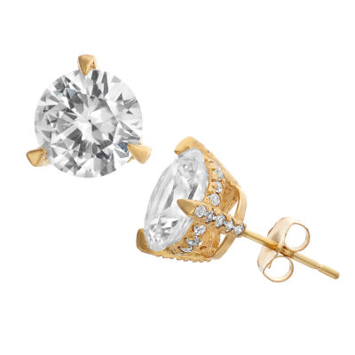 Lab Created White Sapphire 14K Gold 7.8mm Stud Earrings