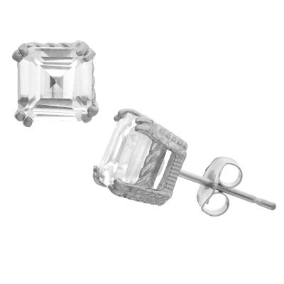 Lab Created White Sapphire 14K White Gold 6.1mm Stud Earrings