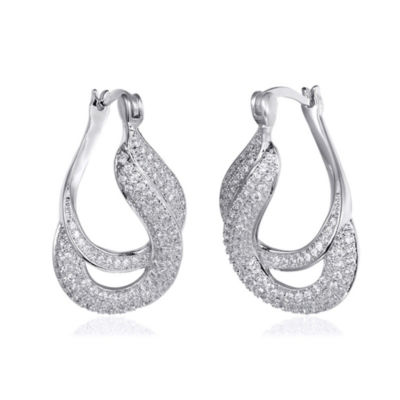Lab Created White Sapphire Sterling Silver 30.4mm Hoop Earrings