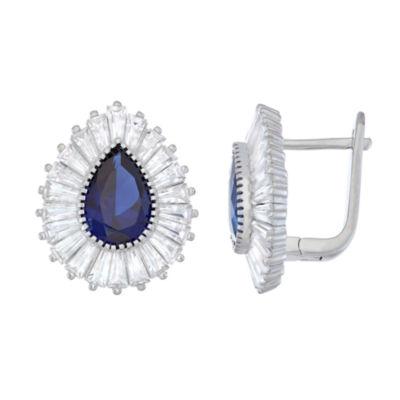 Lab Created Blue Sapphire Sterling Silver 18.9mm Hoop Earrings