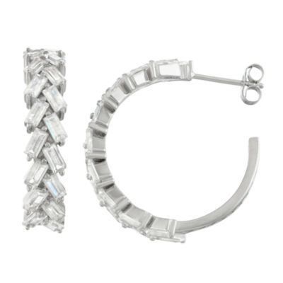Lab Created White Sapphire Sterling Silver 25.3mm Hoop Earrings