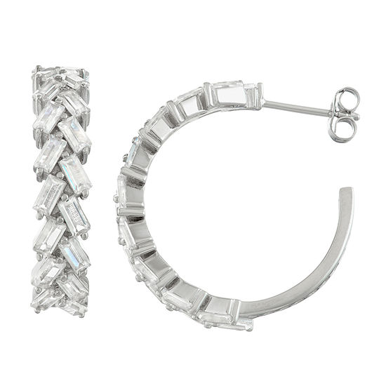 Lab Created White Sapphire Sterling Silver 25.3mm Hoop Earrings