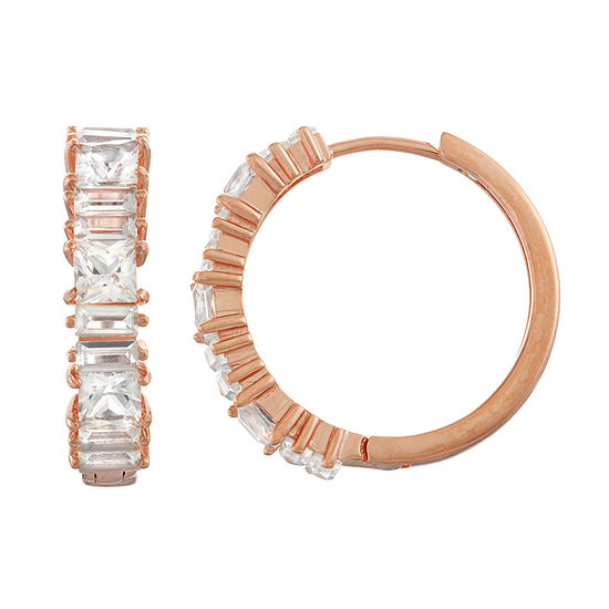 Lab Created White Sapphire 14K Rose Gold Over Silver 23.5mm Hoop Earrings