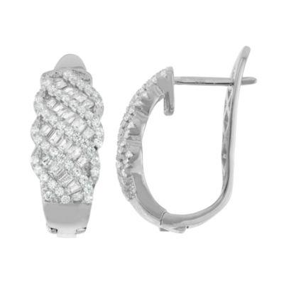 Lab Created White Sapphire Sterling Silver 22.1mm Hoop Earrings