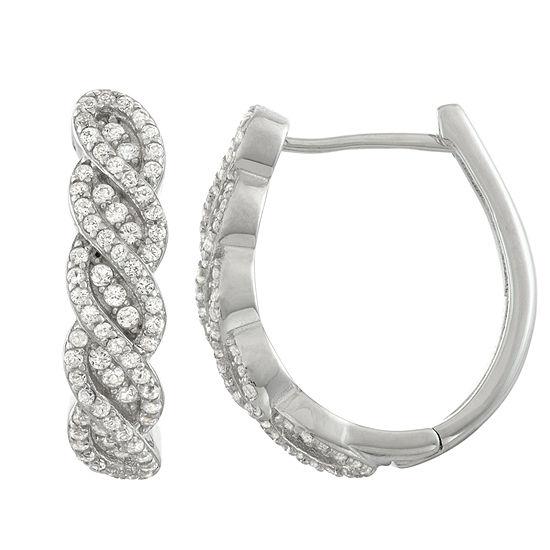 Lab Created White Sapphire Sterling Silver 20.8mm Hoop Earrings