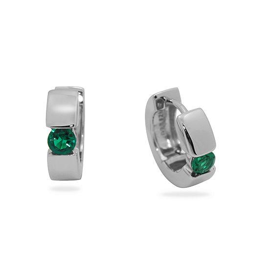 Lab Created Green Emerald Sterling Silver 13.7mm Hoop Earrings