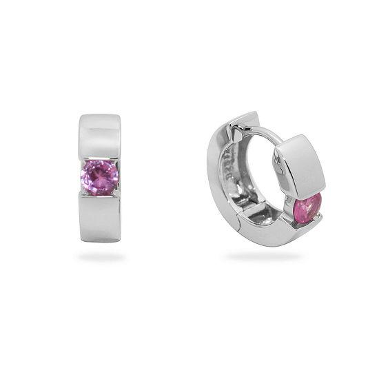 Lab Created Pink Sapphire Sterling Silver 13.7mm Hoop Earrings