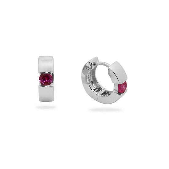 Lead Glass-Filled Red Ruby Sterling Silver 13.7mm Hoop Earrings