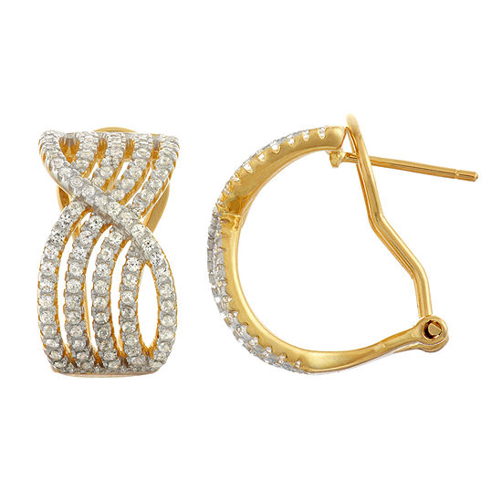 Lab Created White Sapphire 14K Gold Over Silver Sterling Silver 18.9mm Hoop Earrings