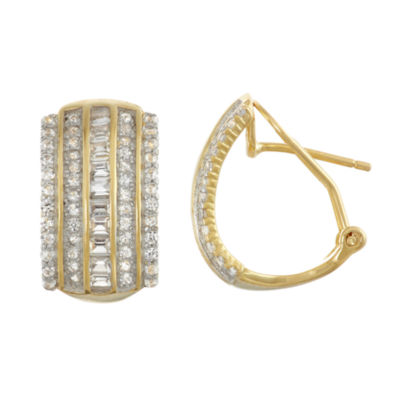 Lab Created White Sapphire 14K Gold Over Silver Sterling Silver 17.1mm Hoop Earrings