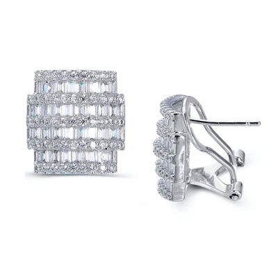 Lab Created White Sapphire Sterling Silver 14.4mm Hoop Earrings