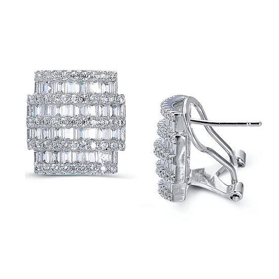 Lab Created White Sapphire Sterling Silver 14.4mm Hoop Earrings