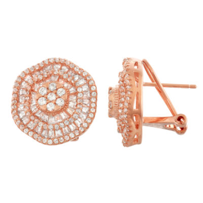 Lab Created White Sapphire 14K Rose Gold Over Silver 16.9mm Hoop Earrings