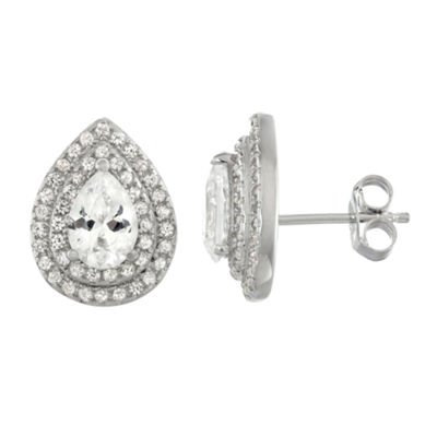 Lab Created White Sapphire Sterling Silver 13.5mm Stud Earrings