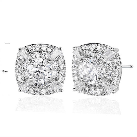 Lab Created White Sapphire Sterling Silver 10.1mm Stud Earrings