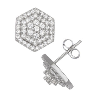 Lab Created White Sapphire Sterling Silver 10.9mm Stud Earrings