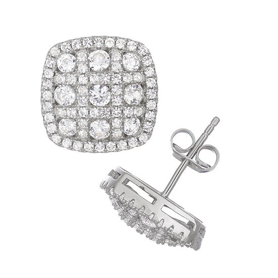 Lab Created White Sapphire Sterling Silver 12.9mm Stud Earrings