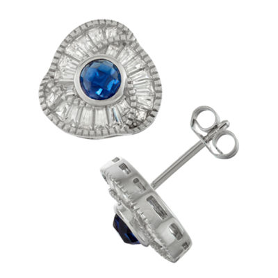 Lab Created Blue Sapphire Sterling Silver 11.9mm Stud Earrings