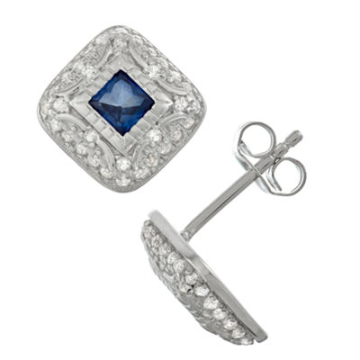 Lab Created Blue Sapphire Sterling Silver 12.4mm Stud Earrings