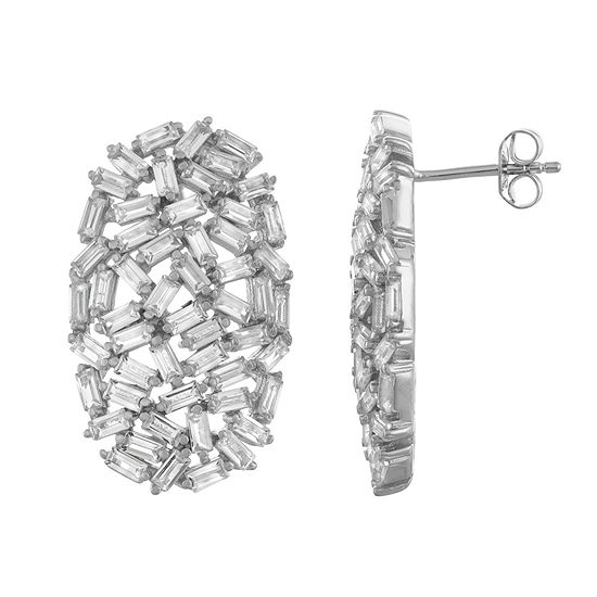 Lab Created White Sapphire Sterling Silver 27.7mm Stud Earrings